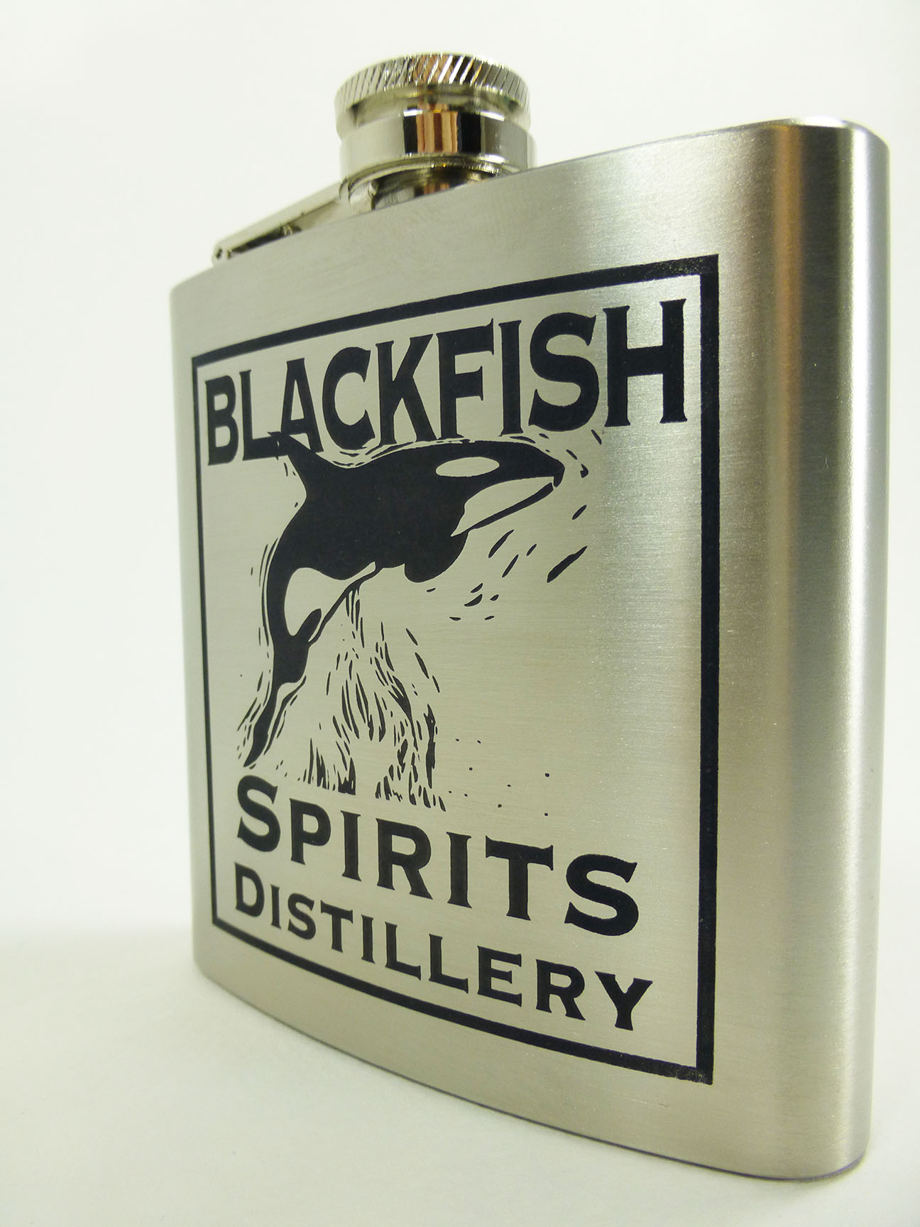 Stainless steel flask with black cermarked image