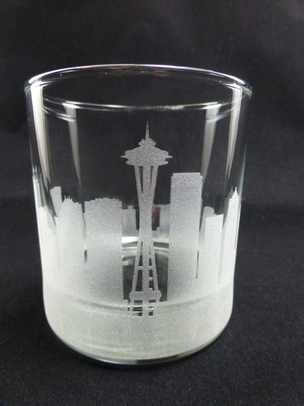 10 oz rocks galss with seattle skyline engraved