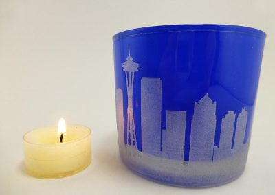 Blue Candle Holder with Seattle Skyline Engraved