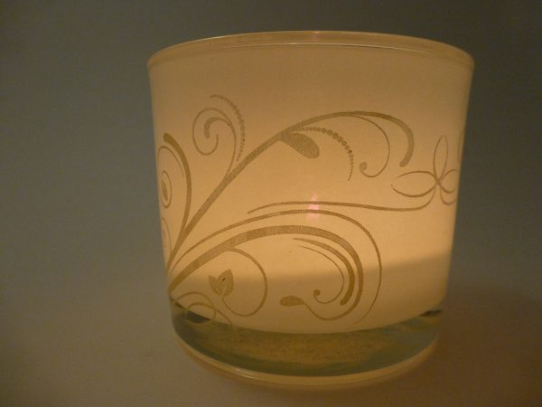 White candel Holder with swirl design engraved